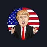 Ilustração do vetor de um retrato de Donald John Trump Imagens de Stock