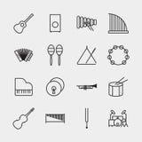 Ilustração do vetor do esboço dos ícones do instrumento de música Foto de Stock