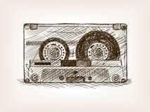 Ilustração do vetor do estilo do esboço da cassete áudio Fotos de Stock Royalty Free