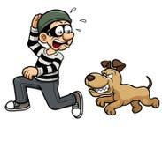 Ladrão que funciona um cão Fotos de Stock Royalty Free