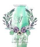 Ilustração do vetor do molde do cartão do convite do casamento Foto de Stock Royalty Free