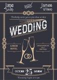 Ilustração do vetor do molde do cartão do convite do casamento do art deco Fotografia de Stock Royalty Free