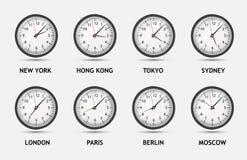 Ilustração do vetor do mundo do fuso horário Fotografia de Stock Royalty Free