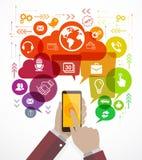 Ilustração do vetor do telefone celular com conceito social dos meios Fotos de Stock Royalty Free