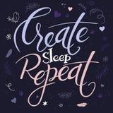 Ilustração do vetor do texto da rotulação da mão - crie a repetição do sono É cercado com elementos decorativos - penas Fotos de Stock Royalty Free