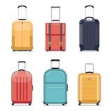 Ilustração do vetor dos ícones da bagagem ou da mala de viagem do curso Imagem de Stock