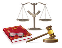 Ilustração do vetor dos ícones da lei Imagens de Stock
