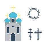 Ilustração do vetor dos ícones da religião Foto de Stock