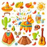 Ilustração do vetor dos ícones de México Imagens de Stock
