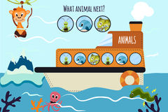A ilustração do vetor dos desenhos animados da educação continuará a série lógica de animais coloridos em um barco no oceano entr Fotos de Stock