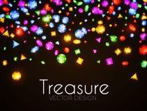Ilustração do vetor Gemas multicoloridos de queda Projeto do tesouro Fundo abstrato do luxo e do jogo Foto de Stock