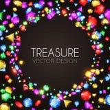 Ilustração do vetor Gemas multicoloridos de queda Projeto do tesouro Fundo abstrato do luxo e do jogo Imagens de Stock