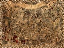 Ilustração do vintage com o mapa do pirata de tesouros do maya e dos astecas e de gotas ensanguentados Foto de Stock