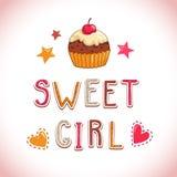 Ilustração doce da menina Imagens de Stock Royalty Free