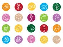 Ilustração dos ícones relativos ao alimento Fotografia de Stock