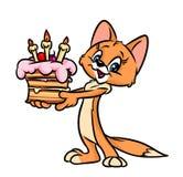 Ilustração dos desenhos animados de Cat Day do bolo do feliz aniversario Fotos de Stock Royalty Free