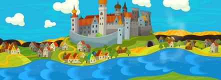 Ilustração dos desenhos animados de um castelo medieval Fotografia de Stock