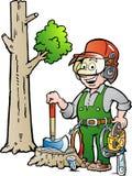 Ilustração dos desenhos animados de um lenhador ou de um lenhador de trabalho feliz Imagem de Stock