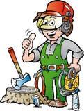 Ilustração dos desenhos animados de um lenhador ou de um lenhador de trabalho feliz que dão o polegar acima Imagens de Stock Royalty Free