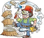 Ilustração dos desenhos animados de um lenhador ou de um lenhador de trabalho feliz que madeira do chrop Foto de Stock Royalty Free