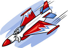 Ilustração dos desenhos animados do avião de combate do jato Imagem de Stock Royalty Free