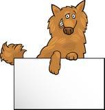 Cão dos desenhos animados com projeto da placa ou de cartão Imagens de Stock Royalty Free