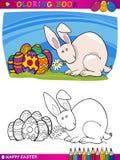 Ilustração dos desenhos animados do coelhinho da Páscoa para colorir Foto de Stock Royalty Free