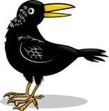 Ilustração dos desenhos animados do corvo ou do pássaro do corvo Foto de Stock Royalty Free