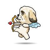 Ilustração dos desenhos animados do vetor do cupido do cão Imagem de Stock