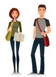 Ilustração dos desenhos animados dos estudantes Fotografia de Stock Royalty Free