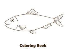 Ilustração dos desenhos animados dos peixes dos arenques do livro para colorir Foto de Stock Royalty Free