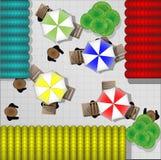 Ilustração dos restaurantes com as cadeiras de cima de Foto de Stock Royalty Free