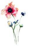 Ilustração estilizado da aquarela das flores Fotos de Stock