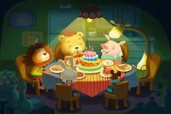 Ilustração: Feliz aniversario! É o aniversário do urso pequeno, todos seus amigos pequenos dos animais vêm lhe desejar um feliz a Imagens de Stock Royalty Free