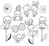 Ilustração feliz do feriado da Páscoa com galinha bonito, coelho, pato, cordeiro Fotos de Stock