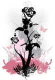 Ilustração floral do vetor do grunge das rosas góticos Fotografia de Stock Royalty Free