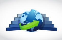 Ilustração frente e verso do gráfico do globo do negócio Fotografia de Stock