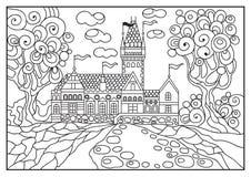 Ilustração gráfica de um castelo no fundo da natureza 5 Fotos de Stock