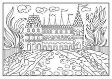 Ilustração gráfica de um castelo no fundo da natureza 1 Imagens de Stock