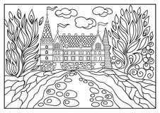 Ilustração gráfica de um castelo no fundo da natureza 4 Foto de Stock