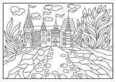 Ilustração gráfica de um castelo no fundo da natureza 2 Fotografia de Stock