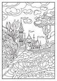 Ilustração gráfica de um castelo no fundo da natureza 9 Imagem de Stock Royalty Free