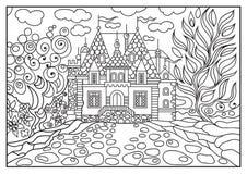Ilustração gráfica de um castelo no fundo da natureza 8 Imagem de Stock