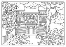 Ilustração gráfica de um castelo no fundo da natureza 10 Imagem de Stock
