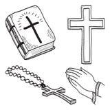 Ilustração hand-drawn cristã dos símbolos Foto de Stock