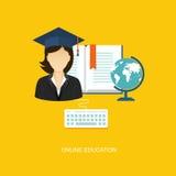Ilustração lisa do estudante com ícones Foto de Stock