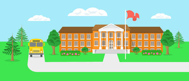 Ilustração lisa do vetor da paisagem do prédio da escola e da jarda Fotos de Stock Royalty Free