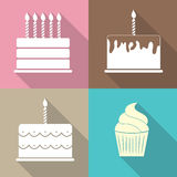 Ilustração lisa do vetor do ícone da Web do bolo de aniversário Fotografia de Stock Royalty Free