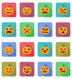 Ilustração lisa do vetor dos ícones da abóbora de Dia das Bruxas Fotografia de Stock Royalty Free
