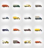 Ilustração lisa do vetor dos ícones do caminhão Imagem de Stock